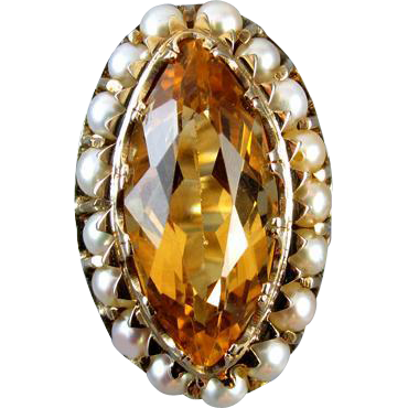 Stunning hand crafted antique Edwardian 14k gold marquise cut 6 carat citrine and seed pearl ring