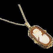 Antique Edwardian shell cameo 10k gold filgree lavalier pendant necklace