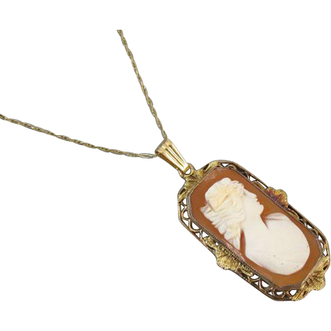 Antique Edwardian shell cameo 10k gold filgree lavalier pendant necklace