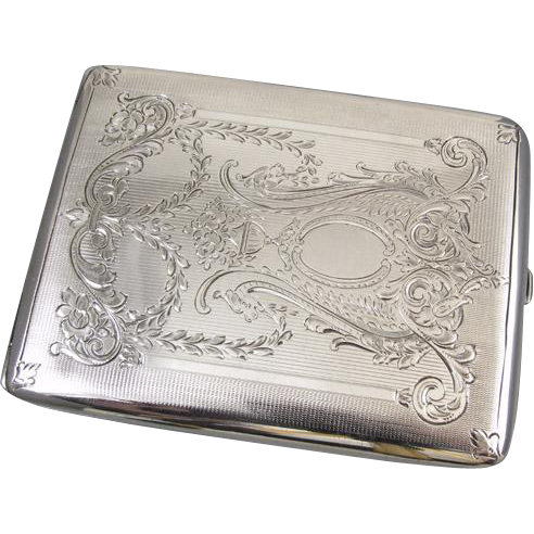 Cigarette case sterling silver 4.2 ounce Edwardian signed Meriden m108E&C