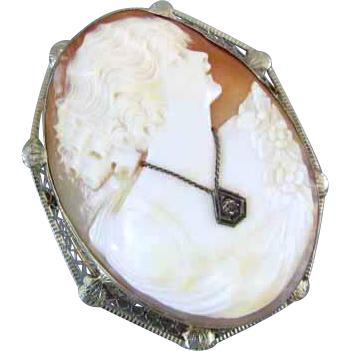 Vintage early Art Deco 14k white gold filigree diamond habille cameo brooch pin pendant necklace
