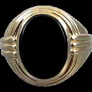 Mans signed Jones & Woodland 14k gold vintage Art Deco black onyx ring 15 grams