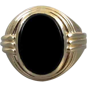Mans signed Jones & Woodland 14k gold vintage Art Deco black onyx ring 15 grams