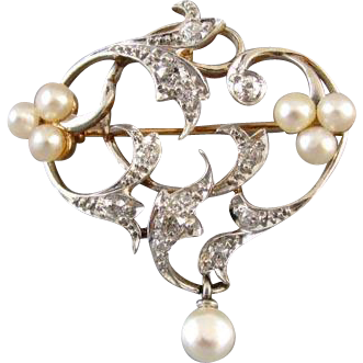 Antique Edwardian 14k platinum .50 carat diamond pearl heart brooch pendant Signed Henry Blank