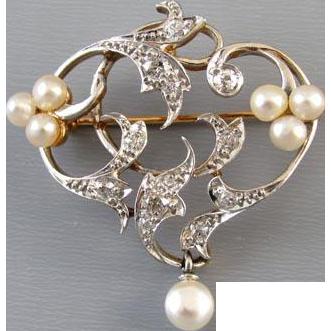 Antique Edwardian 14k platinum .50 carat diamond pearl heart brooch pendant Signed Henry Blank