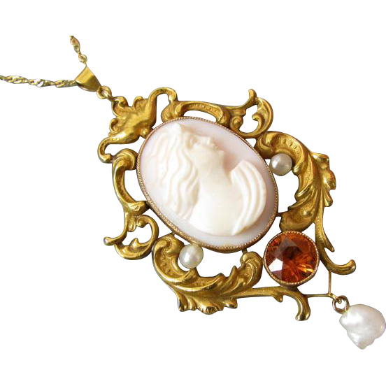 Antique Victorian Art Nouveau 14k gold pink shell cameo seed pearl orange hessonite garnet lavalier pendant necklace