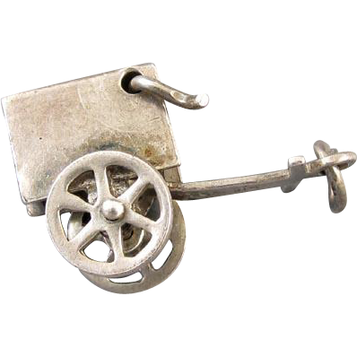 Vintage sterling silver two wheeled moveable ice cream wagon charm