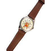 RUNNING Vintage Art Deco 34mm mans 1948 Swiss Made Captain Marvel Comics Fawcett Pub. Inc. cartoon character wrist watch