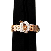 Vintage Retro Moderne 18k rose pink gold brick work diamond woven mesh tank tread buckle ring with working clasp and safety