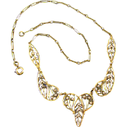 Antique Edwardian French 18k green and white gold seed pearl wire work filigree heart necklace pendant