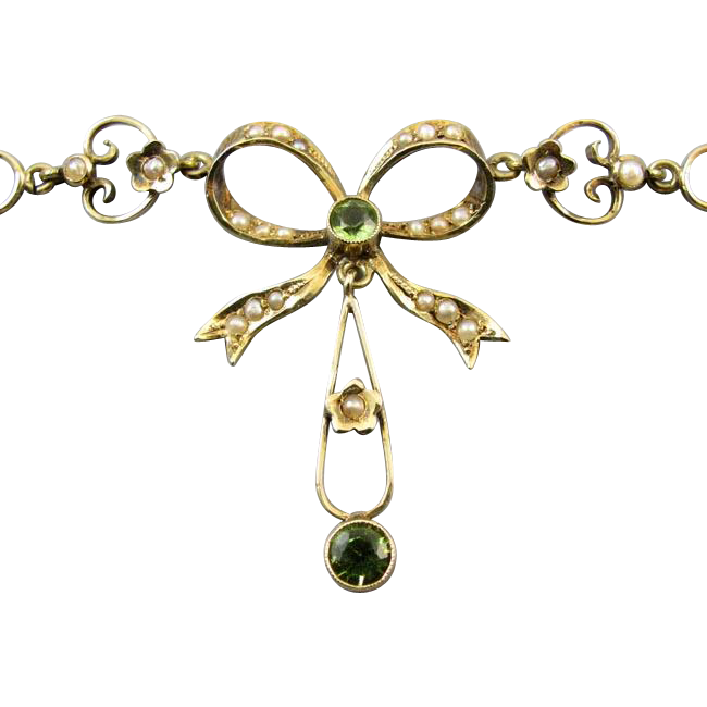 Antique Edwardian 14k gold green peridot seed pearl ribbon bow festoon lavaliere pendant necklace