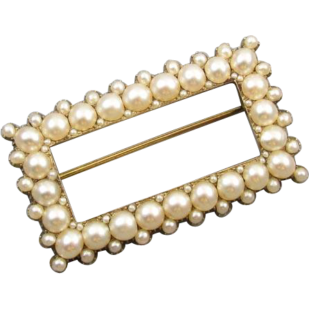 Exquisite antique mid Victorian 14k gold pearl buckle pin