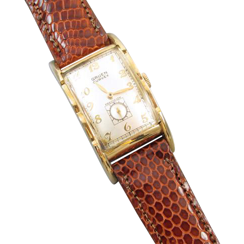 PROFESSIONALLY RESTORED and SERVICED Vintage 1938 wrist watch gold filled Gruen Curvex Precision 43mm model 370