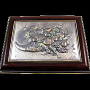 Vintage Italian ACCA Valore Nel Bello Bruno Castellani Horn of Plenty Cornucopia wood jewelry ring trinket box Rome Italy