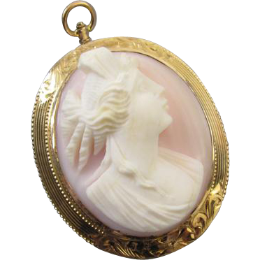 Antique Edwardian pink shell cameo 10k gold pin brooch pendant high relief