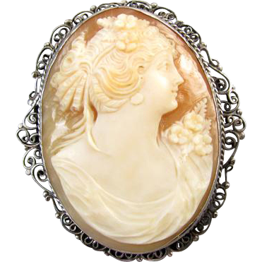 Antique Victorian sterling silver filigree cameo brooch pin pendant
