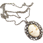 Vintage early Art Deco sterling silver filigree marcasite cameo pendant necklace