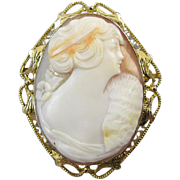 Antique Edwardian 14k gold filigree cameo brooch pin pendant necklace woman with mink stole