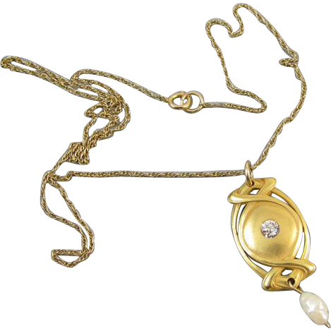 Vintage early Art Deco 14k gold diamond and pearl lavalier necklace pendant