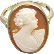 Antique Edwardian 10k gold cameo ring
