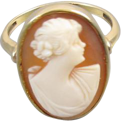 Antique Edwardian 10k gold cameo ring
