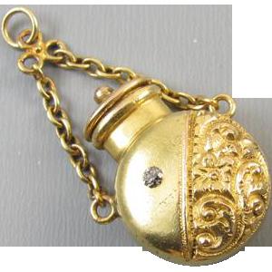 Antique Victorian 18k gold mine cut diamond scent bottle perfumer vinaigrette chatelaine charm fob snuff pendant for necklace