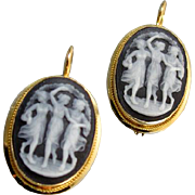 Vintage 18k gold lever back pierced black and white hardstone sardonyx The Three Graces cameo earrings