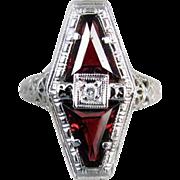 Vintage Art Deco 14k white gold filigree 1.72 carat genuine garnet and diamond ring signed Belais, size 5-3/4
