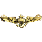 Vintage WW2 WW11 gold filled on sterling silver US Navy Pilot full size military wings pin back brooch signed Amico