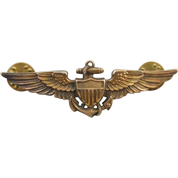 Vintage WW2 WW11 gold filled on sterling silver US Navy Pilot full size military wings pin back brooch signed HILBORN HAMBURGER