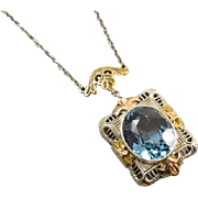 Stunning vintage Art Deco 14k tri color blue topaz lavalier pendant necklace
