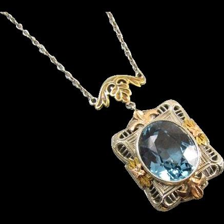 Stunning vintage Art Deco 14k tri color blue topaz lavalier pendant necklace