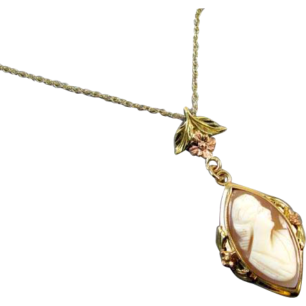 Antique Edwardian shell cameo 14k multi color gold lavalier pendant necklace