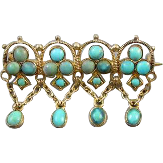 Antique Edwardian Persian blue turquoise 800 silver gilt brooch dangle pin