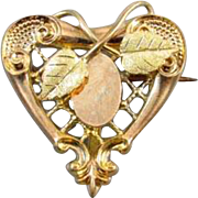Antique Edwardian tri color gold filled lattice work heart shaped brooch pin with hook back attachment watch pin signed Plainville Stock Co j365