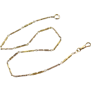 Signed JF Sturdy vintage Art Deco yellow and white gold filled two tone pocket watch chain- 14-1/2 inch j372