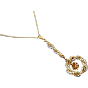 Antique Edwardian 14k gold twisted wire work seed pearl diamond wreath lavalier pendant necklace
