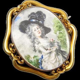 MASSIVE exceptional antique Georgian 14k gold hand painted portrait brooch pin pendant Georgiana Cavendish Duchess of Devonshire