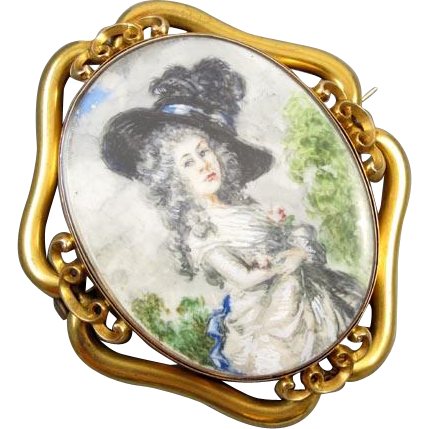 MASSIVE exceptional antique Georgian 14k gold hand painted portrait brooch pin pendant Georgiana Cavendish Duchess of Devonshire