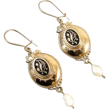 Antique Victorian 14k gold black enamel taille de epargne pearl drop earrings