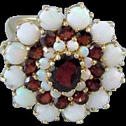 MASSIVE triple halo vintage estate 14k gold opal garnet cocktail statement ring signed DMJ England, size 8