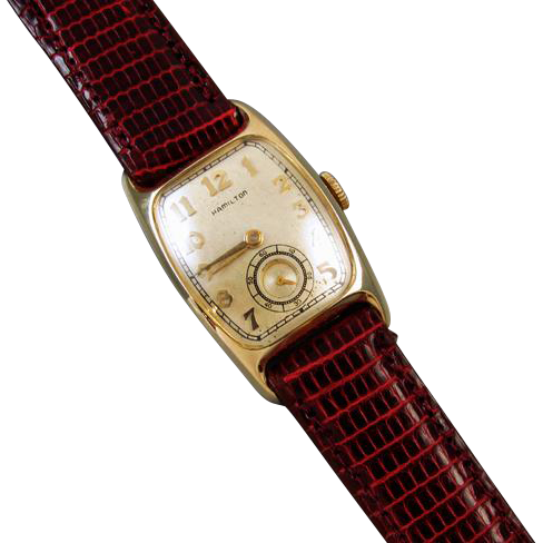 PROFESSIONALLY RESTORED and SERVICED- Vintage Art Deco 14k gold filled Hamilton Boulton B wrist watch 36mm 1950 Grade 753