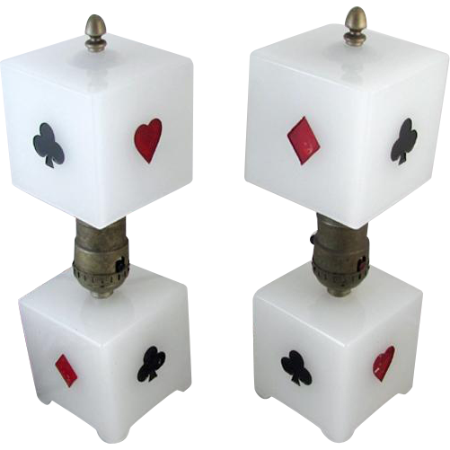 Fantastic vintage Art Deco white milk glass playing card gambling pair of lamps JUST REWIRED and in FAB condition