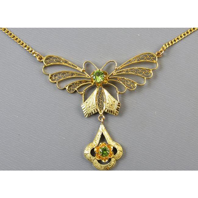 Antique Edwardian 14k gold green peridot filigree butterfly lavaliere pendant necklace