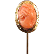 Antique Edwardian 14k rose gold peach coral cameo stick pin / stickpin / lapel pin / tie pin / tie tack / brooch