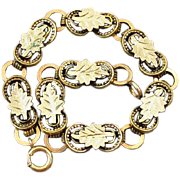 Antique mid-Victorian chunky tri color gold filled book chain bracelet