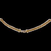 Antique mid- Victorian gold filled wide flexible woven mesh necklace pendant bracelet chain