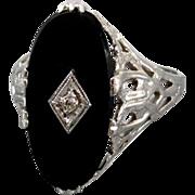 Vintage Art Deco 14k white gold filigree black onyx diamond ring clover and bark details