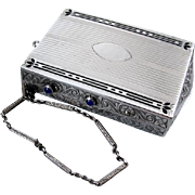 Antique Edwardian sterling silver black enamel blue sapphire clutch purse necessaire minaudiere w wrist strap mirror compact cigarette case