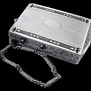 Antique Edwardian sterling silver black enamel blue sapphire clutch purse necessaire minaudiere w wrist strap mirror compact cigarette case